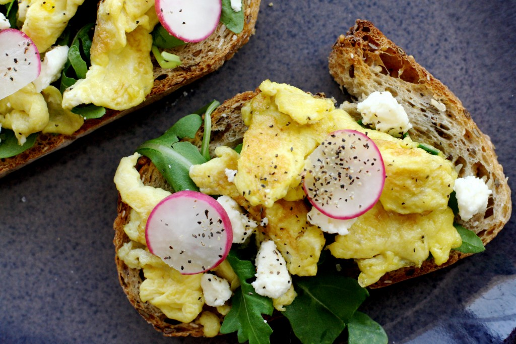 Scrambled Eggs on Toast with Feta, Arugula and Radish