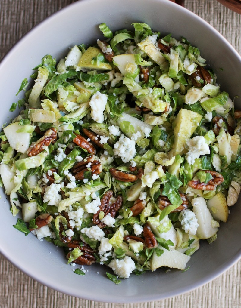 Pear, Pecan and Gorgonzola Brussels Sprout Slaw