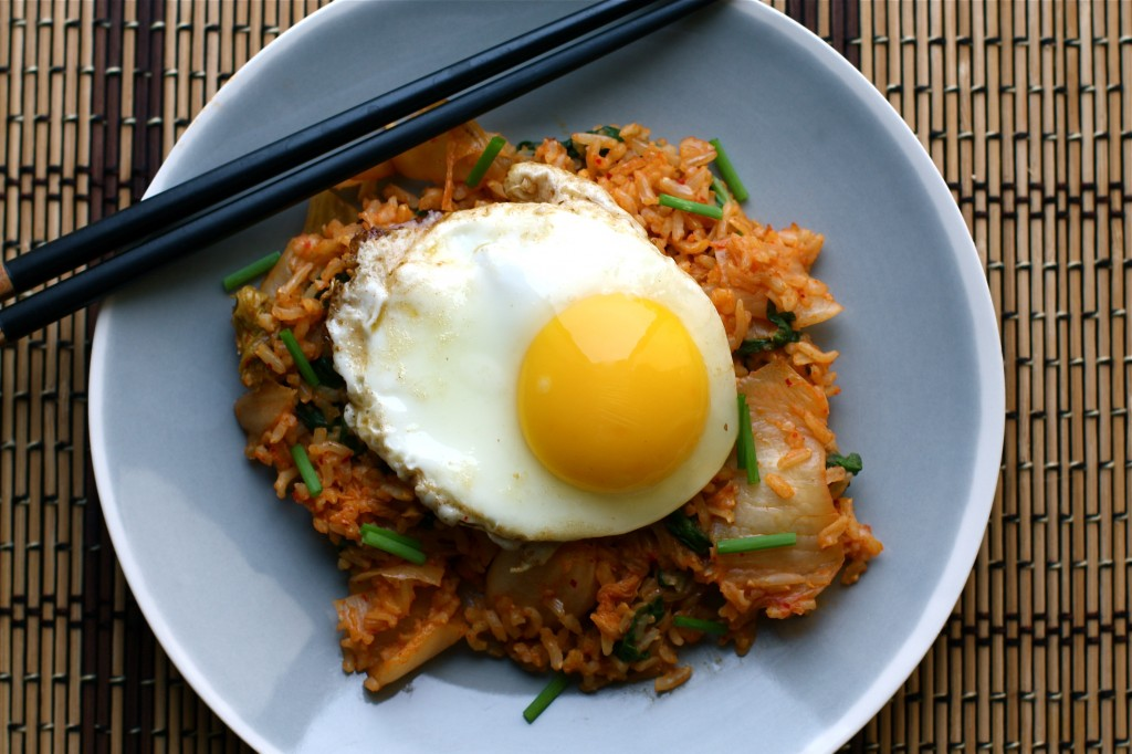 Kimchi Fried Rice with Spinach