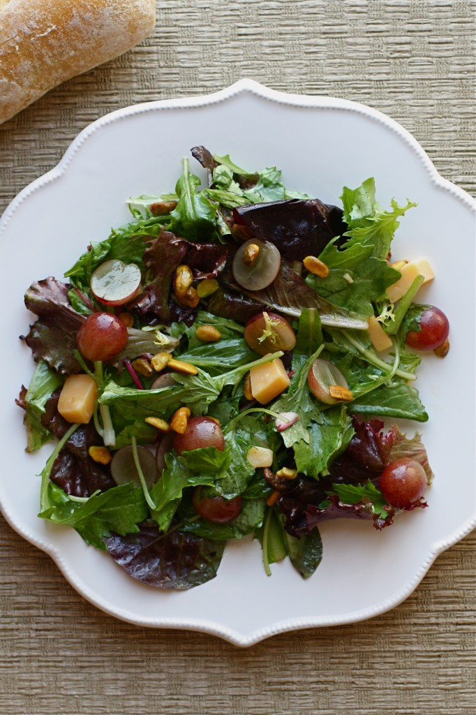 Grape, Gouda and Pistachio Salad with a Honey Vinaigrette